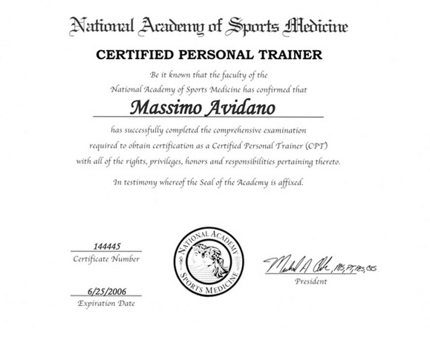 Certificatesdegree Mavidano Personal Training
